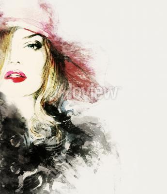 Obraz Style woman portrait abstract fashion watercolor illustration