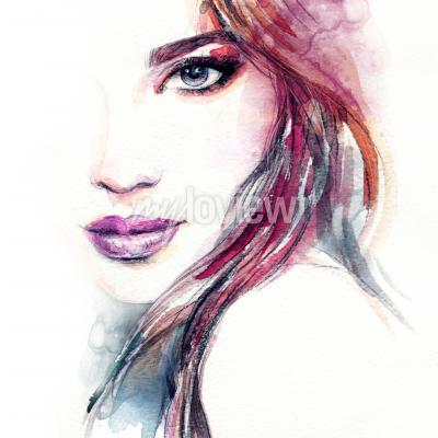 Obraz Abstract woman face watercolor painting
