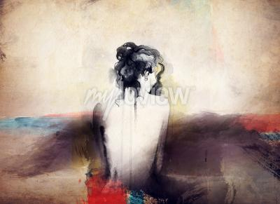 Obraz Woman portrait abstract watercolor fashion background