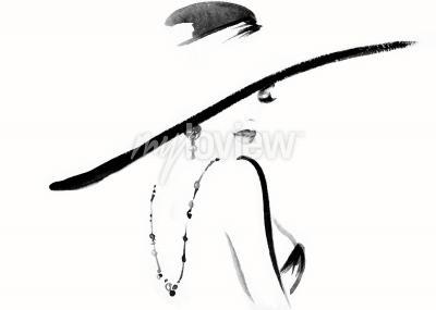 Obraz Woman portrait with hat fashion illustration