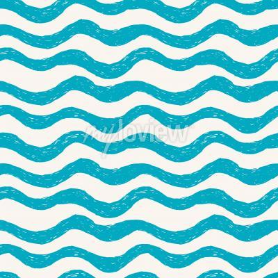 Tapeta Blue waves seamless hand drawn pattern