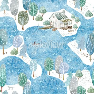 Tapeta Seamless pattern of a fisherman's house island and garden