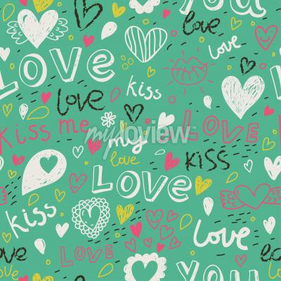 Tapeta Romantic seamless pattern love concept background