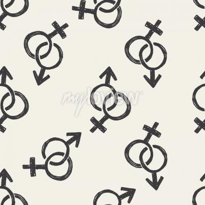 Tapeta Boy and girl doodle seamless pattern background