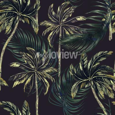 Tapeta Jungle leaves seamless floral tropical pattern background