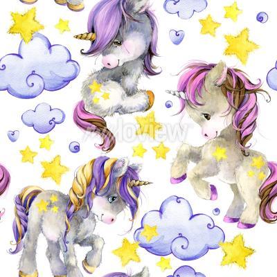 Fototapeta Cute unicorn watercolor seamless pattern