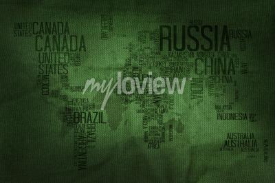 Fototapeta Countries Name Typography World Map on Military Fabric Texture Background