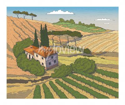 Plakat Countryside scenery in Tuscany