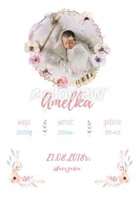 Plakat Metryczka dziewczęca z własnym zdjęciem