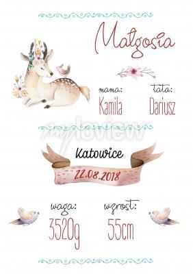 Plakat Metryczka urodzeniowa ze zwierzątkami