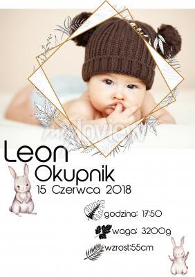 Plakat Metryczka własne zdjęcie i zajączki