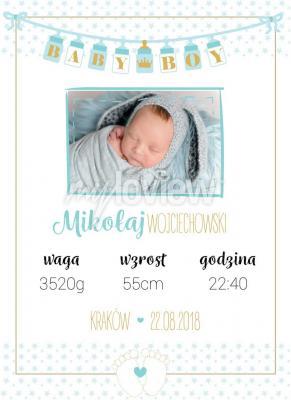 Plakat Chłopięca metryczka z własnym zdjęciem