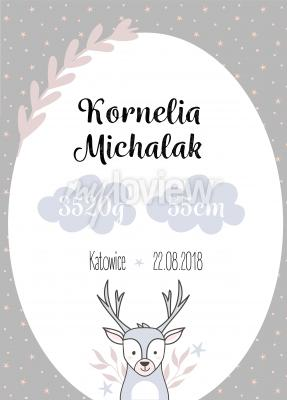 Plakat Metryczka dziecięca z jeleniem