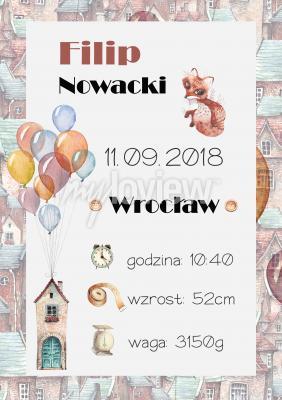 Plakat Metryczka lisek i balony