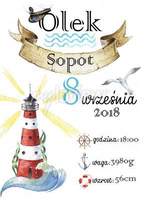 Plakat Metryczka urodzeniowa w morskim stylu