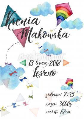 Plakat Metryczka z latawcami