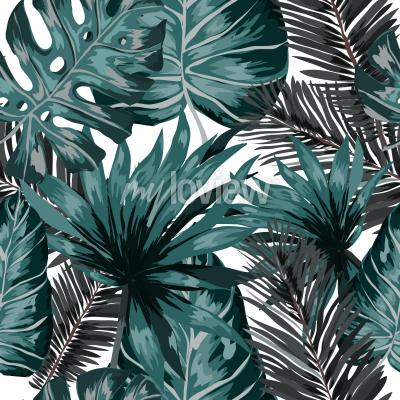 Fototapeta Watercolor seamless pattern with tropical leaves palms monstera passion fruit