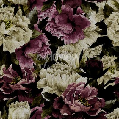 Fototapeta Seamless floral pattern with roses on dark background watercolor