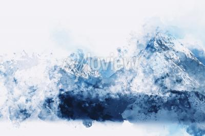 Obraz Abstract mountains in blue tone digital watercolor painting