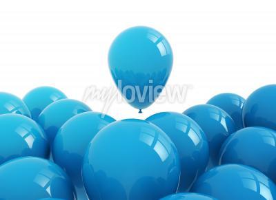 Obraz Celebration background blue balloons on white