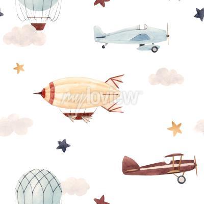 Naklejka Plane and cloud seamless pattern