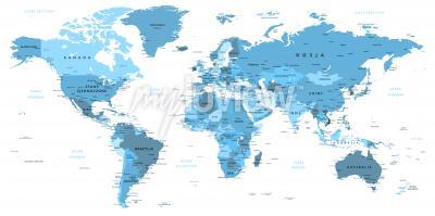 Fototapeta Mapa po polsku w kolorze błękitnym