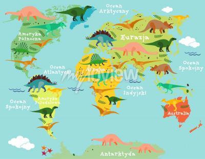 Fototapeta Mapa po polsku z dinozaurami