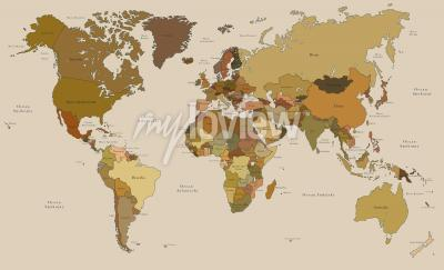 Fototapeta Mapa świata w stylu vintage po polsku