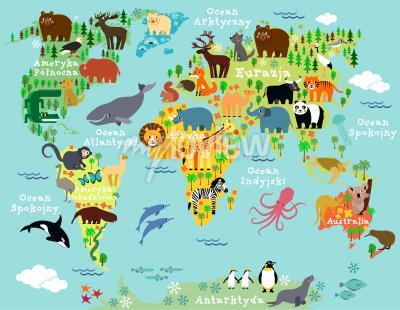 Fototapeta Mapa zwierzęta świata po polsku