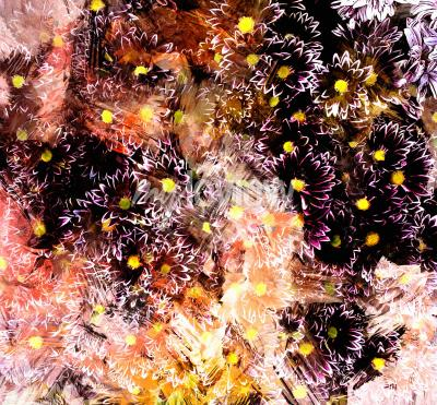 Obraz Abstract floral composition with small chrysanthemums on grunge striped blurred background