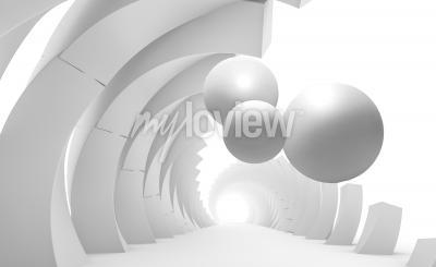 Fototapeta 3d ściana z tunelem i latającymi piłkami