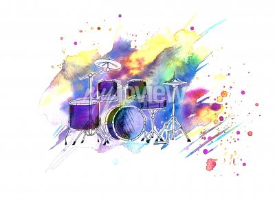 Obraz Watercolor stains drum set