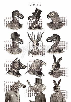 Plakat Kalendarz 2021 zwierzęta vintage