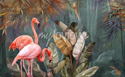 Fototapeta Projekt tła flaminga z tropikalną palmą i liśćmi bananowca