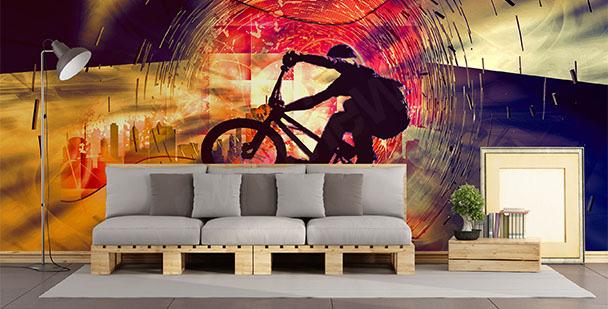 Abstrakcyjna fototapeta z rowerem