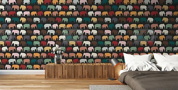 Tapeta ścienna kolorowe słonie