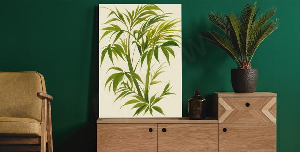 Akwarelowy obraz z liśćmi