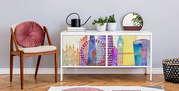 Barwna naklejka Londyn