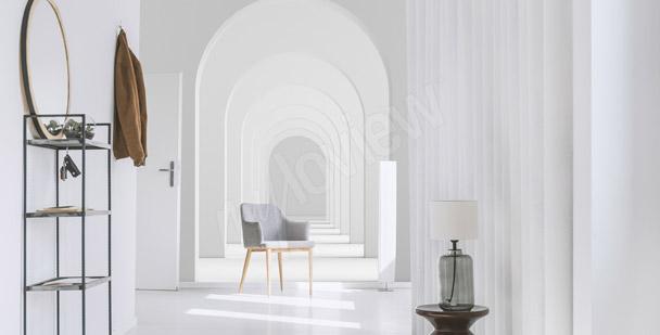 Biała fototapeta tunel 3D
