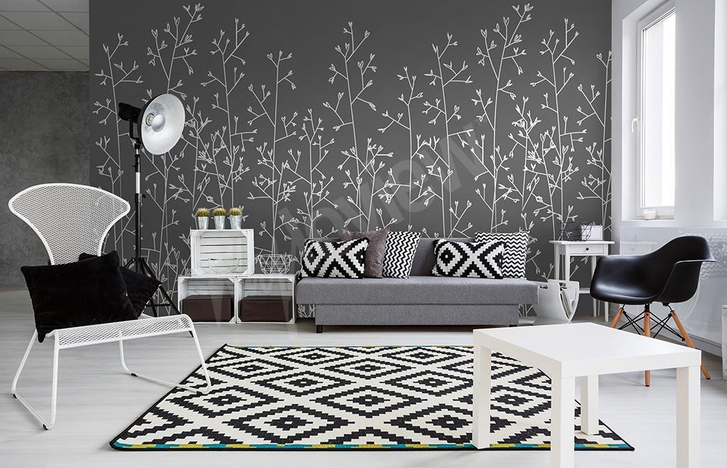 Fototapeta czarno-biała rośliny do salonu