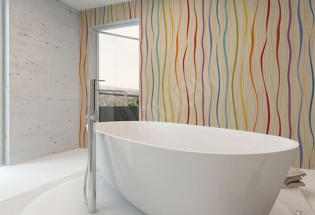 Fototapeta do łazienki kolorowe fale