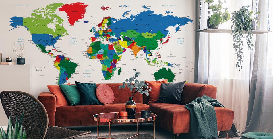 Fototapeta z mapą świata