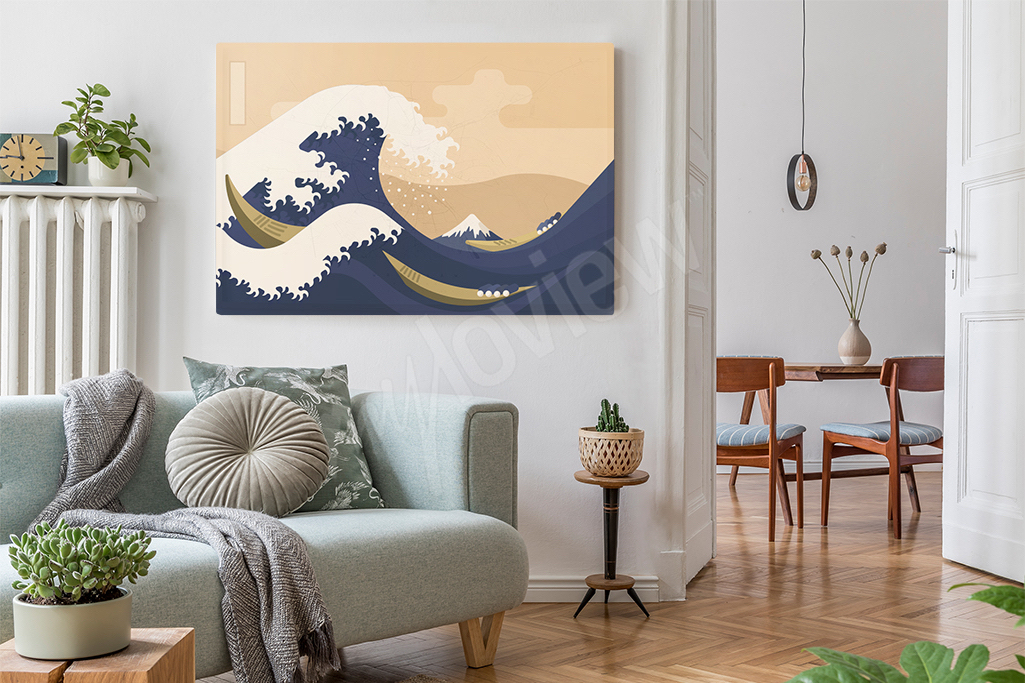 Japońskie malarstwo jest teraz bardzo popularne - motywy w stylu Hokusai są niezwykle barwne i można dopasować je do niemal każdgo wnętrza