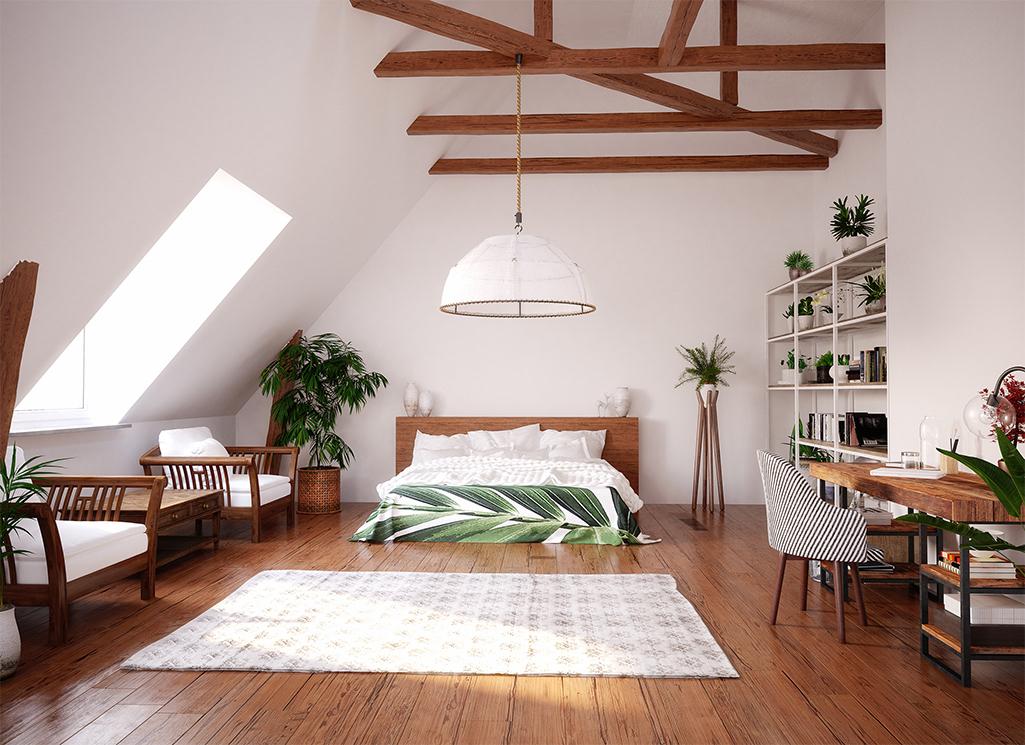 Małe mieszkanie na poddaszu w stylu boho