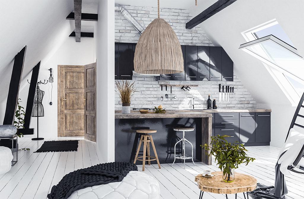 Mieszkanie na poddaszu w stylu rustykalnym