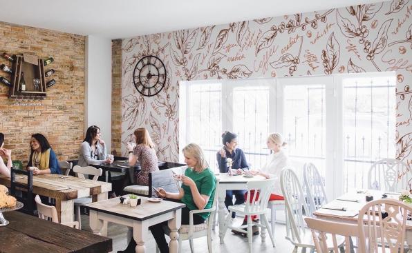 Botaniczna fototapeta do kawiarni