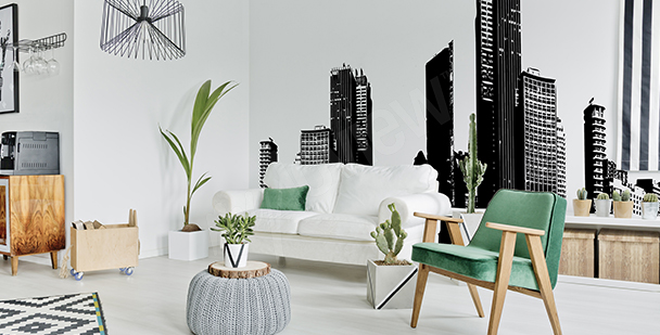 Czarno-biała fototapeta panorama miasta