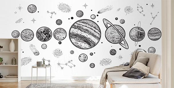 Czarno-biała fototapeta planety