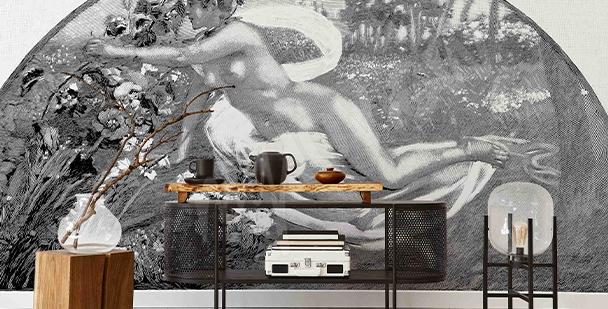 Czarno-biała fototapeta retro
