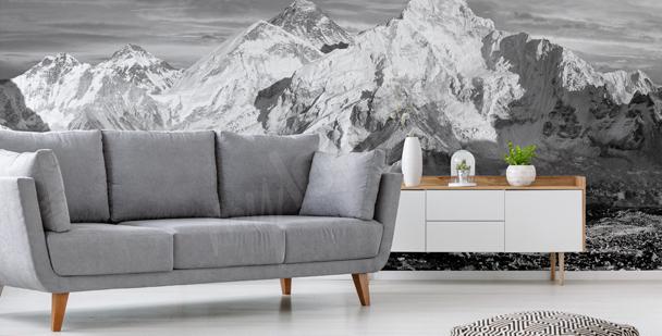 Czarno-biała fototapeta z górami